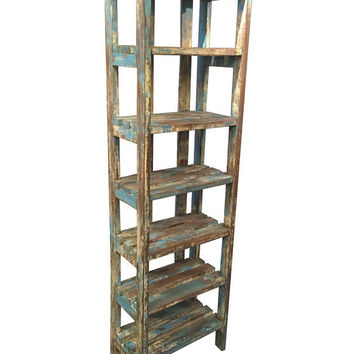 Vintage Rustic Distressed Reclaimed wood 7 Shelf Rack
