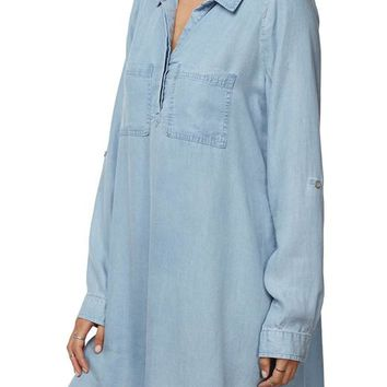 yonce half placket shirt dress