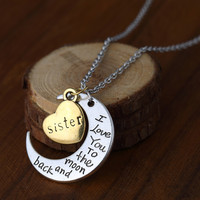 Love Sister Crescent Pendant Necklace