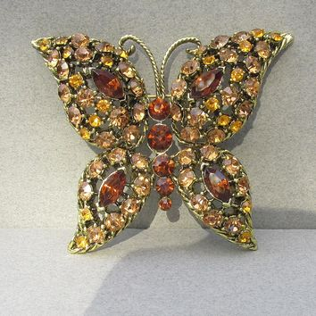 BIG Unsigned WEISS Amber & Brown Rhinestone Vintage BUTTERFLY Pin