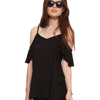 Black Ruffled Bare Shouldere Top