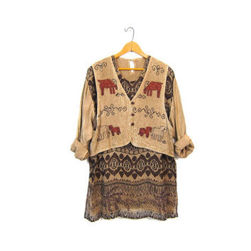 Brown Mini Indian Dress with Vest Embroidered Sheer Tunic Top Festival Gypsy Hippie 90s Grunge Ethnic Bohemian Dress Boho Medium Large