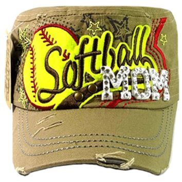 T21SFM01- Rhinestone Softball Mom Vintage Cadet Hat