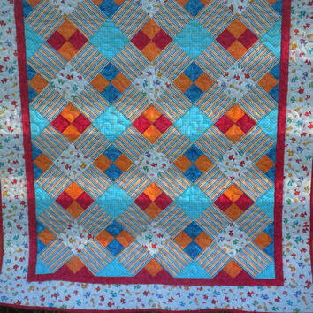 """Red and Orange Nautical Baby Quilt, Toddler Quilt, Fish themed Nursery, 49"""" x 60"""", quilted wall hanging"""