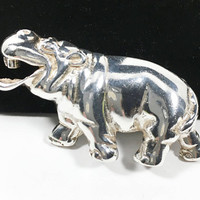 D Molina Sterling Silver Hippopotamus Pin Vintage Signed Collectible Taxco Brooch Figural Laughing Hippo Safari Gift