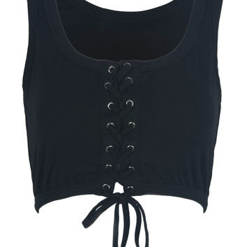 Black Lace Up Front Crop Top