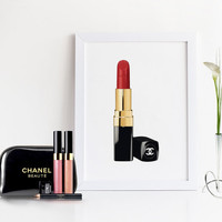 MAKEUP BATHROOM ART,Lips,Lipstick Sign,Chanel Lipstick,Coco Chanel Poster,Wall Art,Girly Print,Gift For Her,Makeup Illustration,Fashion Art