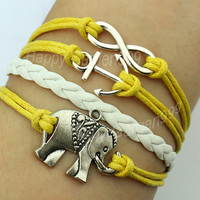 Elephant &anchor infinity wish bracelet yellow wax cords and leather braid bracelet cute personalized jewelry friendship gft-J711