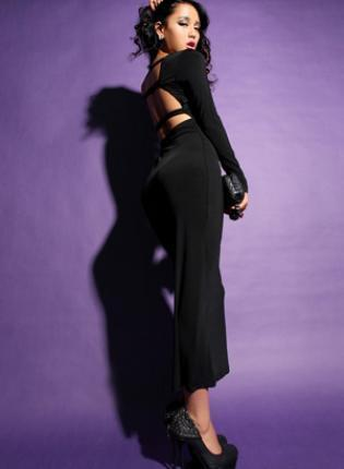 Bquee Sexy V-neck Back Hollow Dresses  Black FQ029
