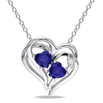 Blue Sapphire and Diamond Heart Necklace Sterling Silver For Women