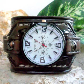 Watch cuff, Mens Leather wrist watch, Brown Men's leather cuff, Handmade watch bracelet