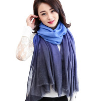 Hot 2017 Spring Summer Fashion Women Gradient Color Long Wrap Sexy Lady Shawl Paris Yarn Scarves foulard femme hijab scarf Oct27 on Aliexpress.com | Alibaba Group