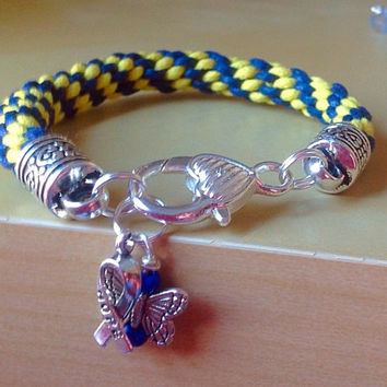 Blue & Yellow  Braided Awareness Bracelet-Kumihimo-Friendship Rope Bracelet-Down Syndrome