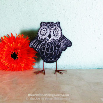 Standing Wooden Owl- Chalkboard finish - Desktop Owl Decor- Desk Owl Decoration - Halloween - Dorm - Kids- Owl Decor
