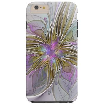 Floral Colorful Abstract Fractal With Pink & Gold Tough iPhone 6 Plus Case