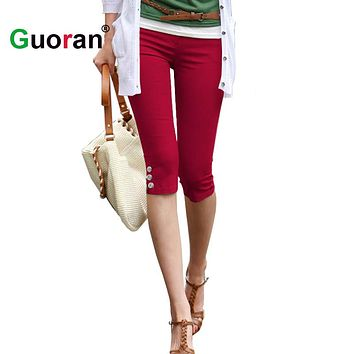 {Guoran } Summer Capri Leggings For Women 2017 Red Black White Stretch Pencil Pants Ladies Casual Skinny Trousers Plus Size 4xl