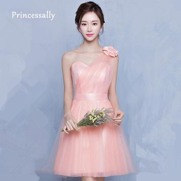 Peachy Bridesmaid Dress Knee Length Sexy Off the Shoulder Sweetheart Knee Length Dress Peachy Pink Vestido De Festa De Casamento