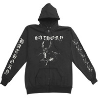 Bathory Men's  Goats Head Zippered Hooded Sweatshirt Black Rockabilia