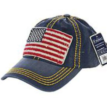 AMERICAN FLAG PATCH Stars & Stripes Blue DISTRESSED AND FADED  HAT Old School Baseball CAP