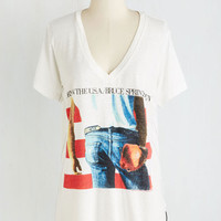 Vintage Inspired Mid-length Short Sleeves Springsteen into Action Top