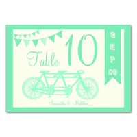 Ivory & Mint Tandem Bicycle Wedding Table Numbers