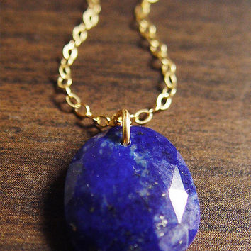 Lapis Rose Cut Necklace - 14k Gold Filled
