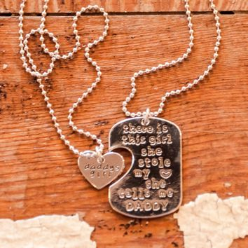 Daddy's Girl Antique Silver-plated Charm Necklace Set