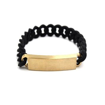 DCCK6HW LUST LTD' Fashion Twist Rope Silica Gel Wristband Couple Steel Plate Chain Bracelet