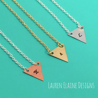 Custom Hand Stamped Triangle Necklace Choose Initial, Charm Metal, Chain Color