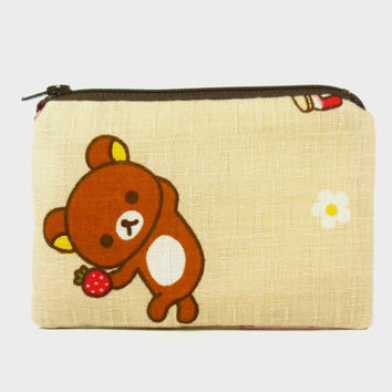 Small zipper pouch / coin purse / phone holder - Rilakkuma