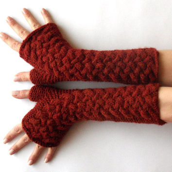 Cable Fingerless Gloves Long Knit Cashmere Wool Arm by Aimarro