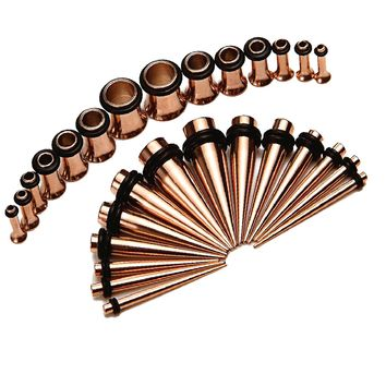 BodyJ4You Gauges Kit Tapers and Tunnels Rose Goldtone 12G-0G Stretching kit 28 Pieces