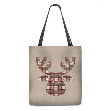 Reindeer Tote Bag in Christmas Plaid