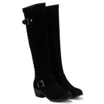 Stylish Rivet and Buckles Design Women's Knee-High Boots