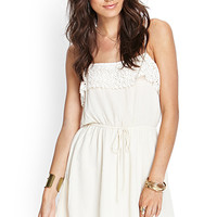 FOREVER 21 Crochet-Trimmed Cami Dress Cream Large