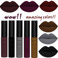 Brand Makeup Matte Nude Liquid Lipstick Cosmetic Waterproof Black Brown Pigment Long Lasting Lip Tint matt lip gloss lot