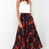What About Now Navy Blue Floral Print Maxi Skirt