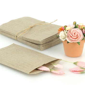 50 Tiny Brown Bags - flat paper bags / envelopes - Made of thin recycled paper