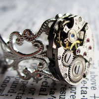 Steampunk ring watch movement sterling silver by InsomniaStudios
