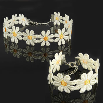 Lace Daisy Flower Chain Tattoo Choker Necklace Bracelet For Women