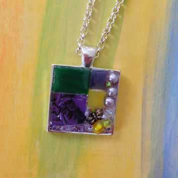 Mosaic stained glass pendant necklace lavender Van Gogh mosaic tile, green and yellow stained glass, beads, a silver butterfly