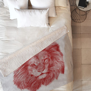 Eric Fan Red Leo Fleece Throw Blanket