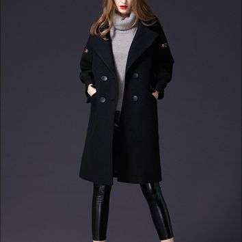 Cute Bee Embroidered Wool Coat