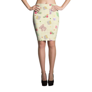 Presents and Animals Pattern Cut & Sew Pencil Skirt