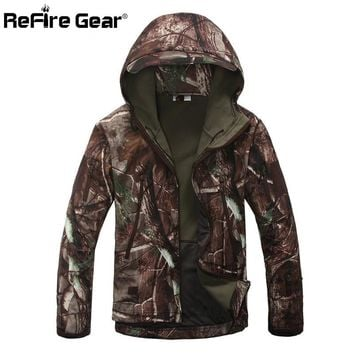 REFIRE GEAR Men's Lurker Shark Skin Softshell V4 Military Tactical Waterproof Windproof Camo Jacket