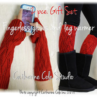 GIFT SET 2 pce. in red, fingerless gloves and matching knit leg warmers knitwear arm warmers socks for boots by Catherine Cole Studio GS5