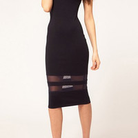 Mesh-Paneled Midi Sheath Dress