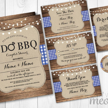 Rustic I Do BBQ Wedding Invitations Set Template Package Printable Invites Save The Date INSTANT DOWNLOAD Blue Check Burlap Wood Editable