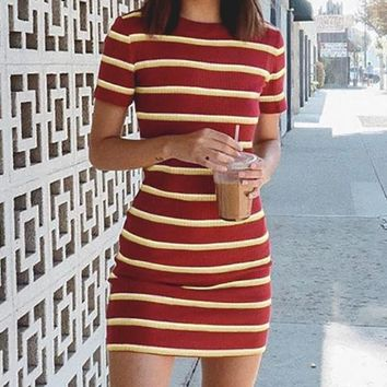 Red Stripe Knitted Bodycon