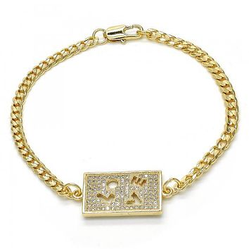 Gold Layered 03.94.0007.08 Fancy Bracelet, Love Design, with White Micro Pave, Polished Finish, Golden Tone